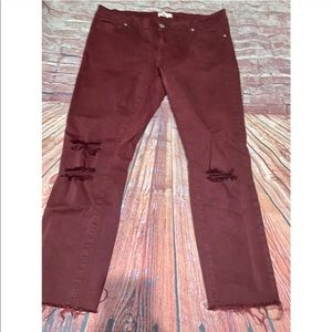 Blue Asphalt | maroon distressed raw hem jeans 13